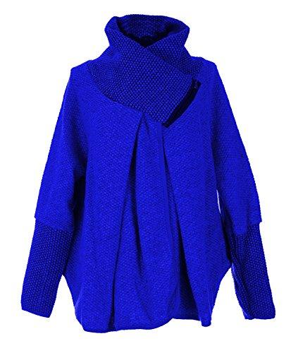 Longues Poncho Cobalt Layer Oversize Italienne Quirky Femmes Laine GG Manches Veste Zip Manteau Cocoon Mesdames Cape Lagenlook xaYOwxzq