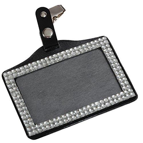 Purely Handmade Fashion Clear Bling Crystal Badge Holder Cute Rhinestone Business ID Card Holder+Clip ()