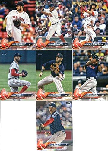 2018 Topps Series 2 Baseball Boston Red Sox Team Set of 7 Cards: Steven Wright(#370), David Price(#411), Dustin Pedroia(#439), Hanley Ramirez(#457), Drew Pomeranz(#483), Xander Bogaerts(#502), Andrew Benintendi(#556)