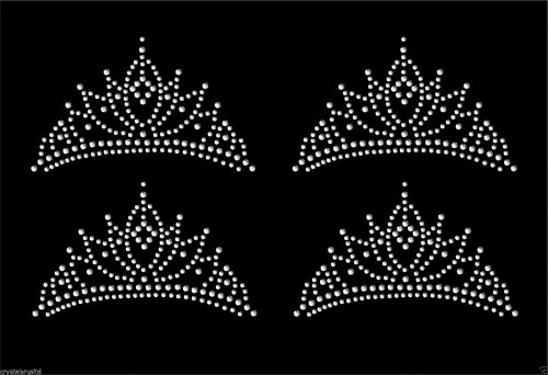 - Clear 4x Tiara Crown Iron On Rhinestone Transfer Crystal Hotflix T-shirt applique