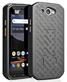 CAT S48c Case, Nakedcellphone [Black Tread] Slim Ribbed Rubberized Hard Shell Cover [with Kickstand] for Caterpillar CAT S48c Phone (Verizon, Sprint, Unlocked)