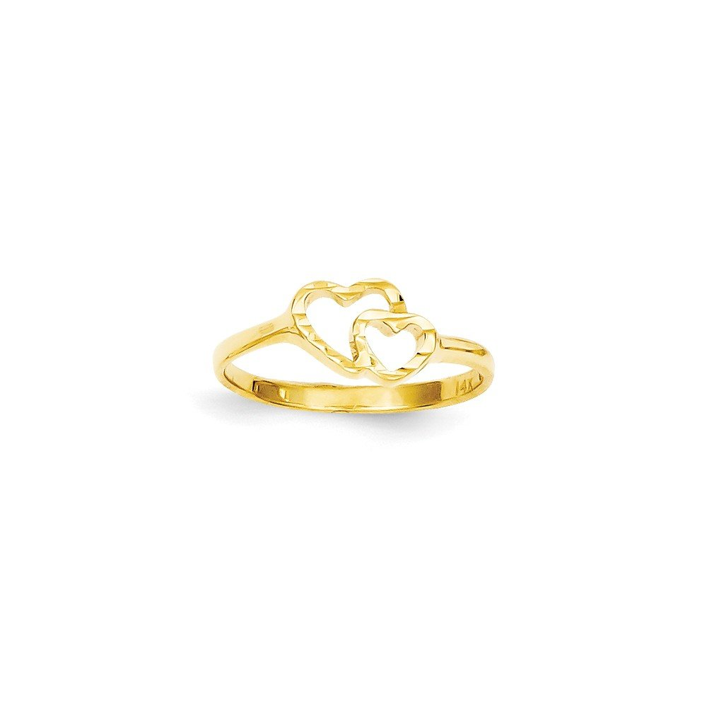 ICE CARATS 14k Yellow Gold Childrens Heart Band Ring Size 5.00 Baby Fine Jewelry Gift Set For Women Heart by ICE CARATS (Image #3)