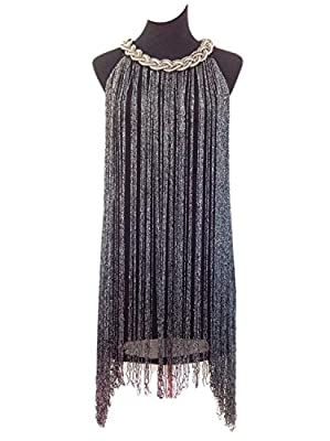 Vijiv Women's 1920s Gatsby Long Swinging Fringe Tassel Flapper Cocktail Dress