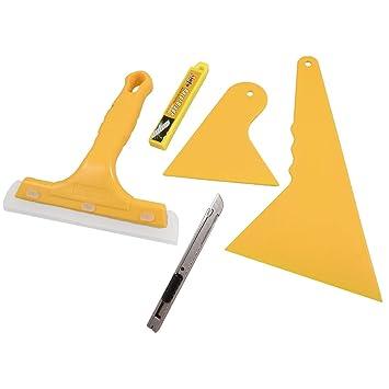 5 en 1 Amarillo Ventana de plástico cortador de vidrio limpiaparabrisas Cine raspador Set: Amazon.es: Coche y moto