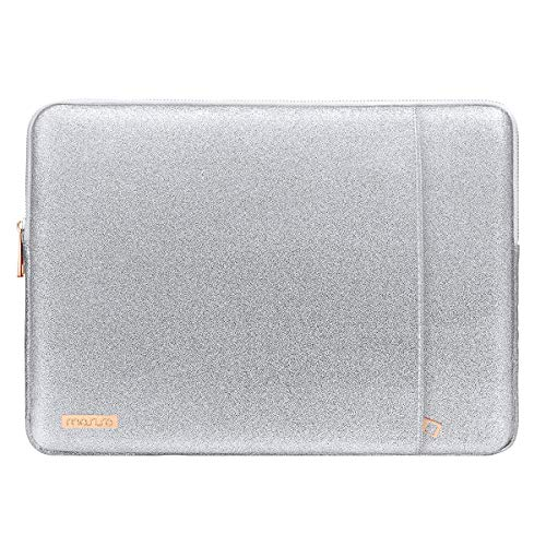 MOSISO Laptop Sleeve Compatible with 13-13.3 Inch MacBook Air/MacBook Pro Retina/2019 Suface Laptop 3/Surface Book 2, PU Leather Vertical Style Super Padded Bag Waterproof Case, Shining Silver