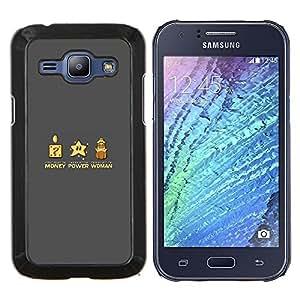 TECHCASE---Cubierta de la caja de protección para la piel dura ** Samsung Galaxy J1 J100 ** --Poder del Dinero Mujer divertido juego