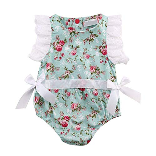 EISHOW Newborn Infant Baby Girls Floral Lace Romper Bowknot Ruffle Sleeve Sunsuit Bodysuit Summer Princess Clothes (Blue, 6-12 Months) ()