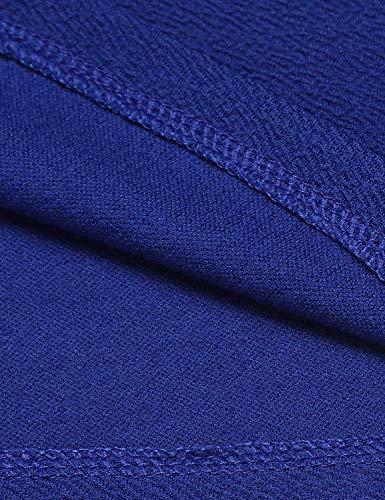 Ragazze Ragazze Ragazze Style Autunno Slim Festa Pieghe Colore Manica Button Moda Moda Moda Moda Fit Camicia Ovest Lunga Bavero Puro Outerwear Moda Corto di Cappotto Donna Blau 5n0qwA4IRx