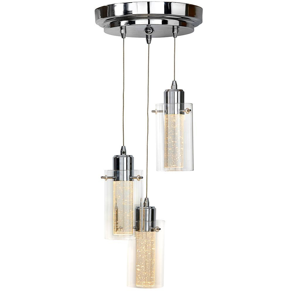 Polished Bubble Glass Triple Hanging Pendant Light Fixture