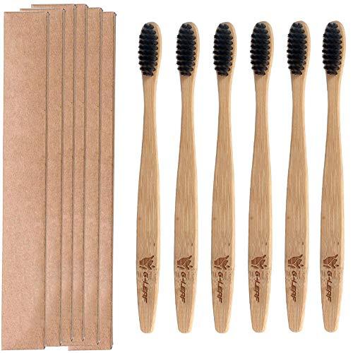 G-leaf Eco-Friendly Natural Bamboo Charcoal Toothbrush BPA-Free Soft Nylon Bristles – Pack Of 6 (Black)