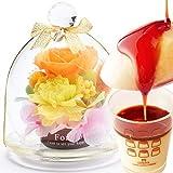 母の日ギフト ミニガラスドームプリザ&プリンセット プリザーブドフラワー 花とスイーツ (オレンジ色)