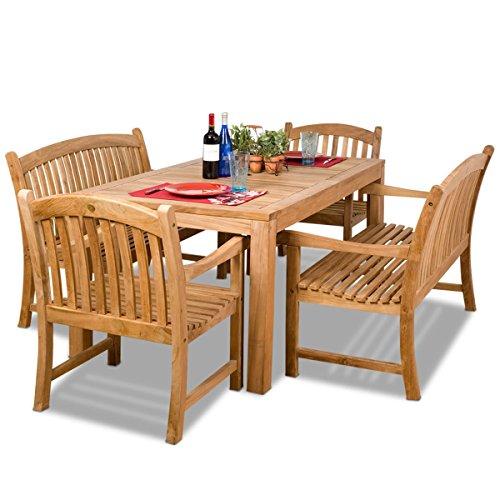 Dining Table Teak Set Rectangular (Amazonia Teak Geneve 5-Piece Teak Rectangular Dining Set)