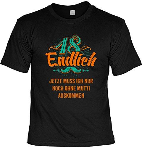 cooles T-Shirt zum 18. Geburtstag Leiberl Geschenk zum 18 Geburtstag 18 Jahre Geburtstagsgeschenk 18-jähriger Freund Endlich 18 ... Gr: L