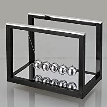 Baisidai Newton's Cradle with Mirror Ball Swing Ball Pool Creative Desktop Energy Gifts Decoration (S, Black)