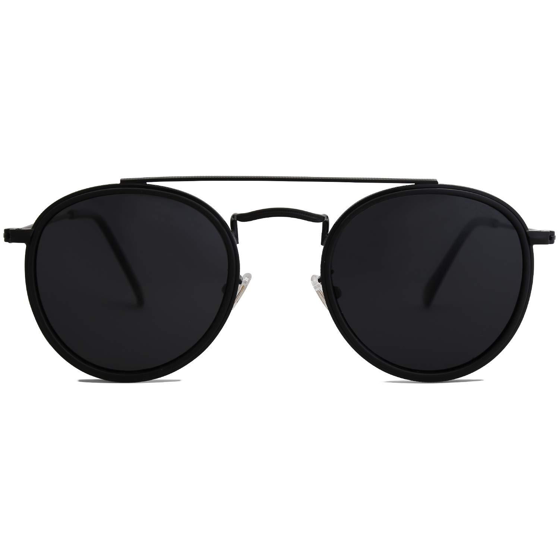 SOJOS Small Round Polarized Sunglasses Double Bridge Frame Mirrored Lens SUNSET SJ1104 with Black Frame/Grey Polarized Lens by SOJOS
