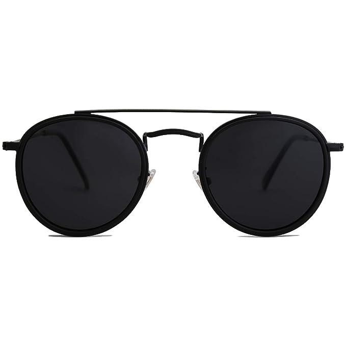 b471feeeda70 SOJOS Small Round Polarized Sunglasses Double Bridge Frame Mirrored Lens  SUNSET SJ1104 with Black Frame
