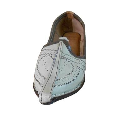 Kalra Creations Homme Cuir traditionnel indien ethnique Chaussures - Jaune  - crème,