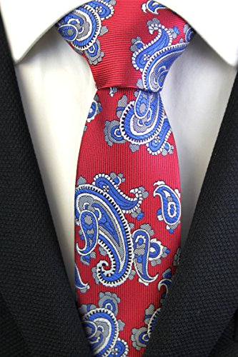 Neki Paisley Neck High Textile Classic Silky Tie Patterned Made Hand Slim Red Mens By Blue Quality TPxOqdTXw