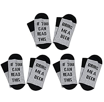 3 Pairs Women's Cotton Funny Crew Socks Novelty Funky Cute Game Beer Party Hosiery Christmas Gift By L&ZZ