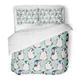SanChic Duvet Cover Set Pattern Cute Penguins Animal Holiday Baby Drawing Antarctic Decorative Bedding Set with Pillow Sham Twin Size