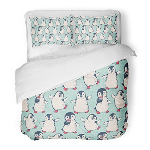 SanChic Duvet Cover Set Pattern Cute Penguins Animal Holiday Baby Drawing Antarctic Decorative Bedding Set with Pillow Sham Twin Size by SanChic