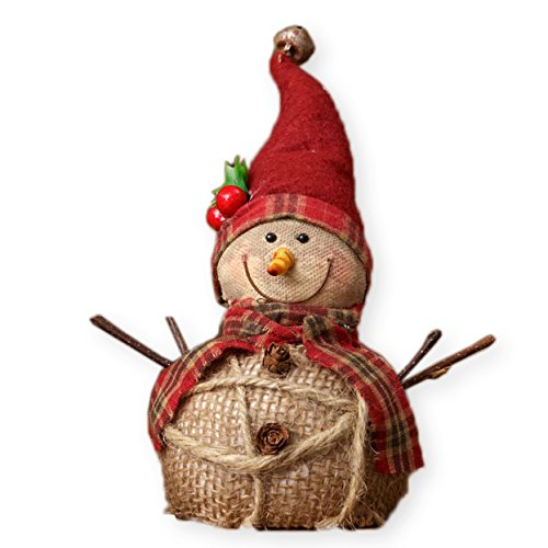 (Your Heart's Delight Stocking Cap Snowman Rustic 5.5 x 6 Inch Burlap Canvas Christmas Tabletop Figurine)