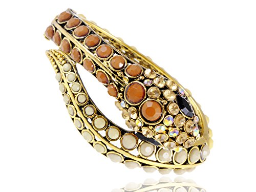 Egyptian Costume Jewelry Wholesale (Alilang Womens Golden Tone Brown Ivory Beaded Egyptian Exotic Snake Bangle Bracelet)