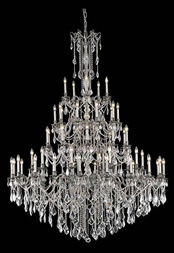 Elements Crystal Five Light - Elegant Lighting Rosalia Collection 55-Light Large Hanging Fixture with Swarovski Strass/Elements Crystals, Pewter Finish