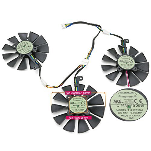 3 Pcs/lot PWM Fans cooler,For ASUS STRIX GTX980Ti/R9 390/390X Graphics Card Cooling FAN DC 12V 0.5A T129215SU