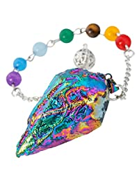 SUNYIK Titanium Crystal Quartz Pendulum Healing Chakra Point Reiki Dowsing Divination Tool