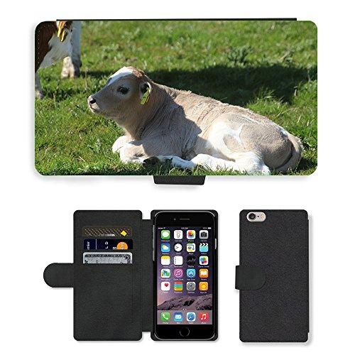 "Just Phone Cases PU Leather Flip Custodia Protettiva Case Cover per // M00128238 Veau Holstein Bovin Vache Holstein // Apple iPhone 6 PLUS 5.5"""
