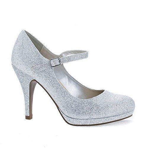 n's Comfort Dennis Mary Jane High Heel,Silver Glitter,7 ()