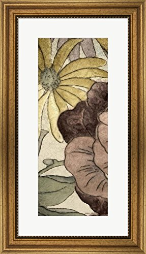 Great Art Now Earthtone Floral Panel IV by Catherine Kohnke Framed Art Print Wall Picture, Wide Gold Frame, 16 x 28 - Panel Floral Earthtone