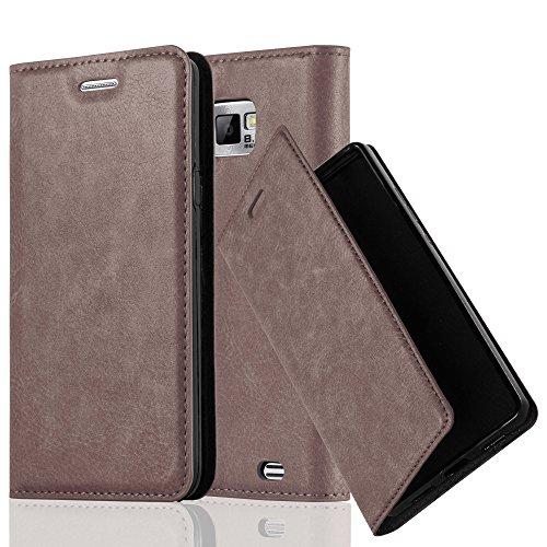 Cadorabo - Funda Book Style Cuero Sintético en Diseño Libro Samsung Galaxy S2 (i9100) - Etui Case Cover Carcasa Caja Protección con Imán Invisible en NEGRO-ANTRACITA MARRÓN-CAFÉ