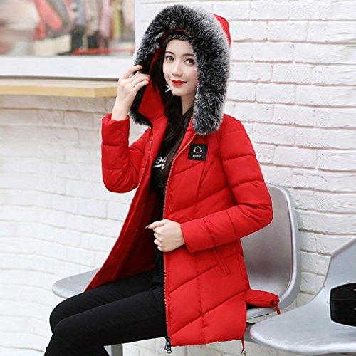 abrigo delgado de Plumas rojo cálido Abrigo Parka A2 invierno de Mujer mujer Chaqueta KaloryWee Para de q4Htta