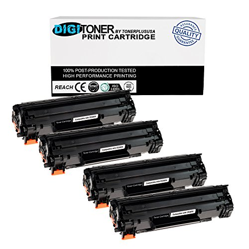 TonerPlusUSA Digitoner New Compatible HP CE285A 85A Laser Toner Cartridge for HP Laserjet M1132, HP M1212Nf MFP, M1217Nfw Mfp, P1102, P1102W, 1102W, M1130, M1210, Black, 4 Piece