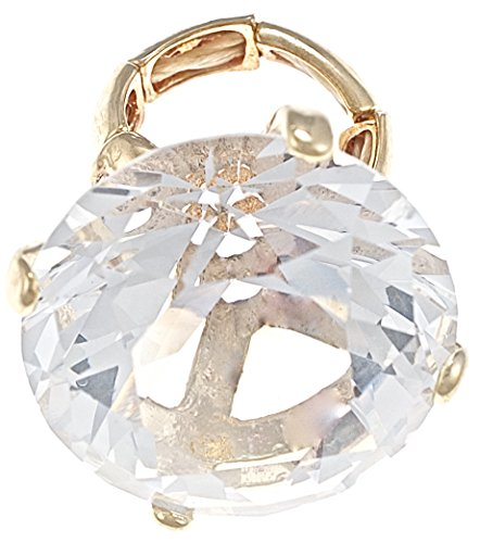GWOOD Large Ice Huge Bling Big Stone Ring Stretch Band (Gold Color)