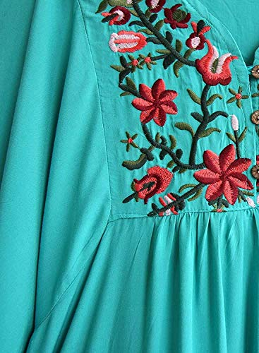 Et Teal breal Manches Style 3 Fleur 4 Fashion Boho Cou V Ethnique Fleur Broderie Chemisiers Vintage Haut Dsinvolte Elgante BIRAN Tunique Large Femme Shirt waxqRRfg
