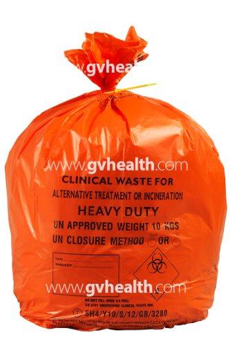 90-Liter-große, orangefarbene und belastbare Tüten für klinische Abfälle 10 kg, 28 x 39, Orange, 100