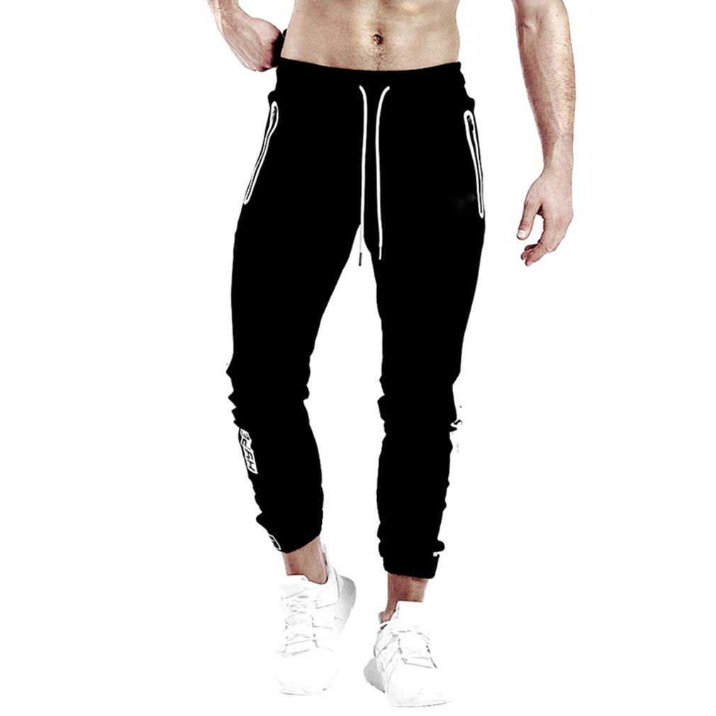 BOOMLEMON Mens Gym Fitness Workout Sweatpants Bodybuilding Joggers Running Pants with Zippered Pockets
