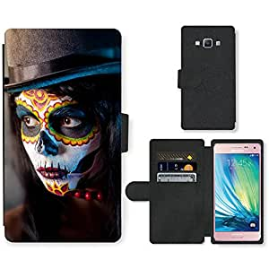 PU Cuir Flip Etui Portefeuille Coque Case Cover véritable Leather Housse Couvrir Couverture Fermeture Magnetique Silicone Support Carte Slots Protection Shell // V00001715 Muchacha del cráneo del azúcar // Samsung Galaxy A5 (not fit S5)