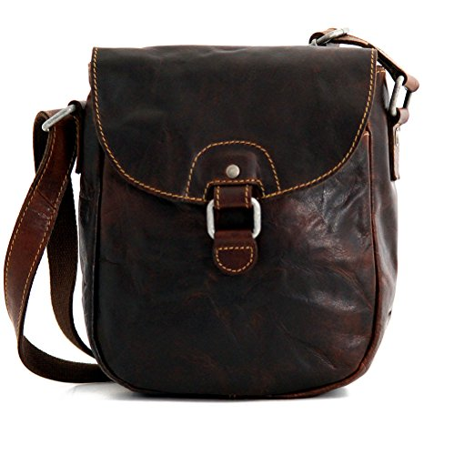 Jack Georges Voyager Horseshoe Crossbody Bag, Leather Shoulder Bag in Brown (Jack Bag Georges Leather)