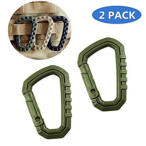 2 pièces D Ring Molle Tactique Sangle Boucle, TIANOR Verrouillage Mousqueton pour Camping Randonnée Mousqueton Clip, Vert