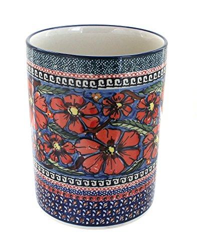 Polish Pottery Jungle Flower Utensil Jar by Zaklady