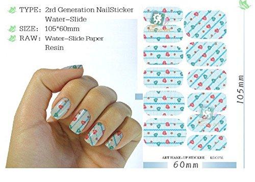 5 Sheet, Water Transfer Foils Nail Art Sticker Colored Love Heart ...