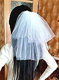 Bachelorette party Veil 2-tier white, sparkling with rhinestones, short length. Bride veil, accessory, bachelorette veil, hen party veil
