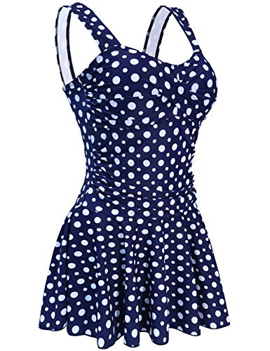 Tankini Polka Dot Floral Shaping Body 1 Piece Swimwear Womens Support Swimsuits Blue Dotted M