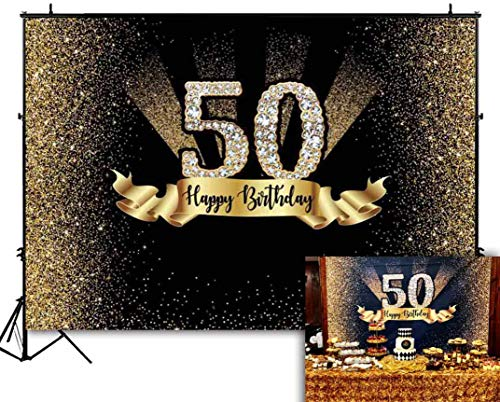 Funnytree 7x5ft Gold and Black 50th Birthday Photography Backdrop Adult Golden Glitter Diamonds Shiny Background Fifty Years Old Age Party Decoration Photo Banner Photobooth Props