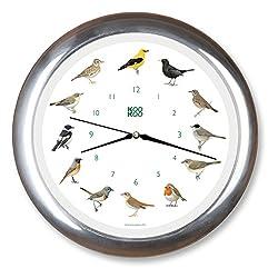 KOOKOO Singvögel Chrome, Singing birdclock Includes 12 Genuine Original Field Recordings from Native Songbirds, Large 34cm/13,4in Wall Clock with Light Sensor