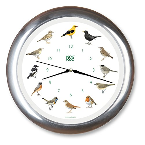 (KOOKOO Singvögel Chrome, Singing birdclock Includes 12 Genuine Original Field Recordings from Native Songbirds, Large 34cm/13,4in Wall Clock with Light Sensor)